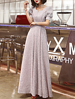 cheap -A-Line Glittering Minimalist Wedding Guest Formal Evening Dress Scoop Neck Half Sleeve Floor Length Spandex with Sequin 2021