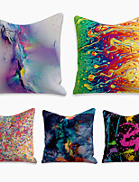 cheap -5 pcs Linen Pillow Cover, Abstract Square Zipper Polyester Traditional Classic