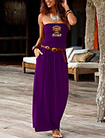 cheap -Women's Sheath Dress Maxi long Dress Black Purple Red Wine Army Green Dusty Rose Green Royal Blue Dark Gray Navy Blue Sleeveless Print Summer Strapless Formal 2021 S M L XL XXL