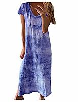 cheap -shakumy women's casual summer floral short sleeve crew neck t shirt maxi dress beach sundress party tunic split swing dress