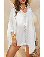 cheap -Women's Chiffon Dress Short Mini Dress White 3/4 Length Sleeve Solid Color Summer V Neck Casual Mesh S M L XL