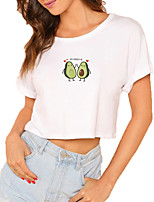 cheap -Women's Crop Tshirt Heart Fruit Letter Print Round Neck Tops 100% Cotton Basic Basic Top White Black