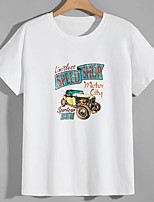 cheap -Men's Unisex Tees T shirt Hot Stamping Graphic Prints Car Plus Size Print Short Sleeve Casual Tops 100% Cotton Basic Designer Big and Tall White