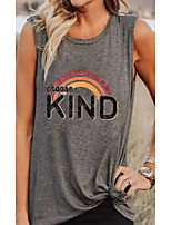 cheap -Women's Blouse Rainbow Print Round Neck Tops Basic Basic Top Gray