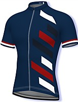 cheap -21Grams Men's Short Sleeve Cycling Jersey Spandex Dark Navy Stripes Bike Top Mountain Bike MTB Road Bike Cycling Breathable Quick Dry Sports Clothing Apparel / Athleisure
