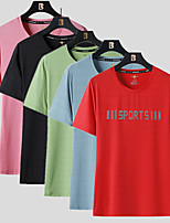 cheap -Women's T shirt Hiking Tee shirt Short Sleeve Crew Neck Tee Tshirt Top Outdoor Windproof Ultraviolet Resistant Quick Dry Lightweight Autumn / Fall Spring Summer Polyester Solid Color Black Red Light