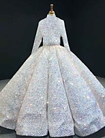cheap -Ball Gown Luxurious Sparkle Quinceanera Prom Dress Halter Neck Long Sleeve Floor Length Sequined with Pleats Sequin 2021