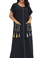 cheap -Women's Kaftan Dress Maxi long Dress Black Green Short Sleeve Solid Color Tassel Fringe Pocket Summer Round Neck Elegant 2021 M L XL XXL