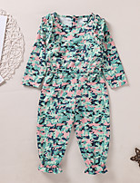cheap -Kids Girls' Overall & Jumpsuit Camouflage Print Green Active 2-8 Years