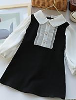 cheap -Kids Little Girls' Dress Color Block Black Knee-length Long Sleeve Cute Dresses Fall Summer Regular Fit