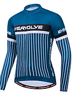 cheap -Men's Long Sleeve Cycling Jersey Dark Blue Bike Jersey Sports Clothing Apparel / Micro-elastic / Athleisure