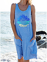 cheap -Women's Shift Dress Knee Length Dress White Black Blue Blushing Pink Sleeveless Floral Pocket Print Summer Round Neck Casual Cotton 2021 S M L XL XXL 3XL 4XL 5XL