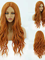 cheap -Synthetic Wig Deep Wave Middle Part Wig Medium Length A10 A1 A2 A3 A4 Synthetic Hair Women's Cosplay Party Fashion Orange