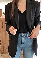 cheap -Women's Single Breasted One-button Blazer Solid Colored Dailywear Black / Khaki S / M / L
