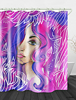 cheap -Watercolor Beauty Print Waterproof Fabric Shower Curtain for Bathroom Home Decor Covered Bathtub Curtains Liner Includes with Hooks