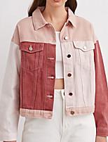 cheap -Women's Color Block Basic Spring &  Fall Denim Jacket Regular Daily Long Sleeve Cotton Coat Tops Pink