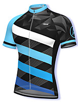 cheap -21Grams Men's Short Sleeve Cycling Jersey Spandex Blue Stripes Bike Top Mountain Bike MTB Road Bike Cycling Breathable Quick Dry Sports Clothing Apparel / Athleisure