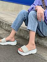 cheap -Women's Slippers & Flip-Flops Platform Round Toe PU Synthetics White Black Yellow