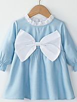 cheap -Toddler Little Girls' Dress Solid Colored Light Blue Above Knee Long Sleeve Basic Dresses Spring & Summer Regular Fit 2-8 Years