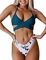 cheap -zaful women's padded floral strappy wrap high waisted bikini set swimsuit