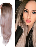 cheap -Long Straight Hair Middle Part Synthetic Wig For Women Ombre Baby Ash Blonde/Pink/Red/Brown/Blue Natural Hair Female Wig