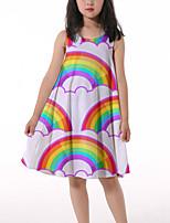 cheap -Kids Little Girls' Dress Rainbow Graphic Ruched Print Rainbow Knee-length Sleeveless 3D Print Cute Dresses Loose 4-13 Years