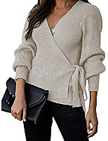 cheap -Women's Solid Color Sweater Sweater Cardigans V Neck Wine Red Almond Black