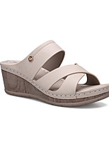 cheap -Women's Sandals Wedge Heel PU Solid Colored Deep Pink Pink off-white
