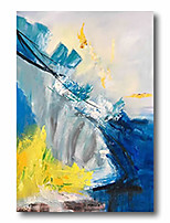 cheap -Stretched Oil Painting Hand Painted Canvas Abstract Comtemporary Modern High Quality Blue Ready to Hang