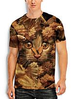 cheap -Men's T shirt 3D Print Graphic Animal 3D Print Short Sleeve Daily Tops Basic Casual Brown
