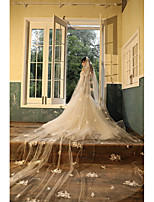 cheap -One-tier European Style Wedding Veil Blusher Veils with Appliques Tulle