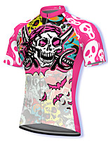 cheap -21Grams Men's Short Sleeve Cycling Jersey Spandex Pink Skull Bike Top Mountain Bike MTB Road Bike Cycling Breathable Quick Dry Sports Clothing Apparel / Athleisure