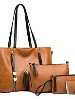 cheap -Women's Bags PU Leather Bag Set 4 Pieces Purse Set Zipper Solid Color Daily Going out Bag Sets 2021 Handbags White Black Brown