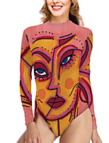cheap -Women's New Vacation Fashion One Piece Swimsuit Color Block Abstract Tummy Control Print Bodysuit Normal High Neck Swimwear Bathing Suits Red / Party