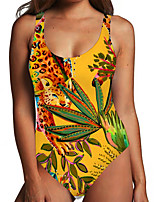 cheap -Women's One Piece Monokini Swimsuit Tummy Control Print Tropical Leaf Yellow Swimwear Bodysuit Strap Bathing Suits New Fashion Sexy / Animal