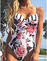 cheap -Women's One Piece Monokini Swimsuit Open Back Slim Floral Tropical Figure 5 Figure one Figure II Figure three Figure Six Swimwear Padded Bodysuit V Wire Bathing Suits New Fashion Sexy / Leaf