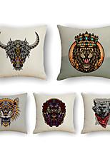 cheap -Cushion Cover 5PCS Linen Soft Print Square Throw Pillow Cover Cushion Case Pillowcase for Sofa Bedroom 45 x 45 cm (18 x 18 Inch) Superior Quality Mashine Washable