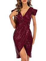 cheap -Sheath / Column Sparkle Vintage Holiday Party Wear Dress V Neck Short Sleeve Short / Mini Spandex Sequined with Sequin 2021