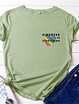 cheap -Women's T shirt Heart Letter Print Round Neck Tops 100% Cotton Basic Basic Top White Black Blue