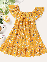 cheap -Kids Toddler Little Girls' Dress Graphic Print Yellow Knee-length Sleeveless Active Dresses Summer Regular Fit 2-8 Years