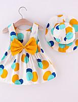 cheap -Toddler Little Girls' Dress Polka Dot Print Yellow Blushing Pink Knee-length Sleeveless Regular Dresses Summer Loose 2-4 Years