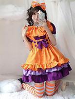 cheap -Lolita Maid Uniforms Cute Dress Women's Japanese Cosplay Costumes Orange Solid Color Above Knee / Apron