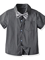 cheap -Kids Boys' Shirt Short Sleeve Striped Children Children's Day Tops Basic Black 2-3 Y