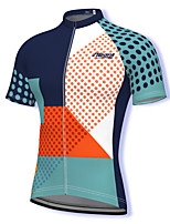 cheap -21Grams Men's Short Sleeve Cycling Jersey Spandex Blue Polka Dot Bike Top Mountain Bike MTB Road Bike Cycling Breathable Quick Dry Sports Clothing Apparel / Athleisure