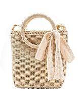 cheap -Women's Bags Top Handle Bag Straw Bag Date Beach 2021 Handbags Khaki Beige