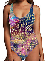 cheap -Women's One Piece Monokini Swimsuit Tummy Control Print Color Block Tribal Blue Purple Swimwear Bodysuit Strap Bathing Suits New Ethnic Fashion / Floral