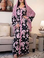 cheap -Women's Kaftan Dress Maxi long Dress Black Long Sleeve Print Solid Color Patchwork Summer Round Neck Casual 2021 S M L XL