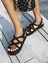 cheap -Women's Sandals Boho Bohemia Beach Roman Shoes Gladiator Sandals Platform Round Toe PU Synthetics Almond Black