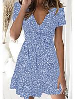 cheap -Women's A Line Dress Knee Length Dress Black Blue Red Short Sleeve Floral Print Summer V Neck Casual 2021 S M L XL XXL 3XL 4XL 5XL