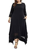 cheap -Women's Plus Size Dress Solid Color Black XL XXL XXXL 4XL 5XL